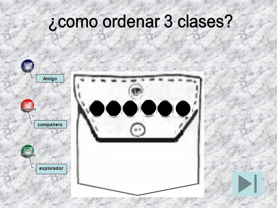 ¿como ordenar 3 clases Amigo compañero explorador