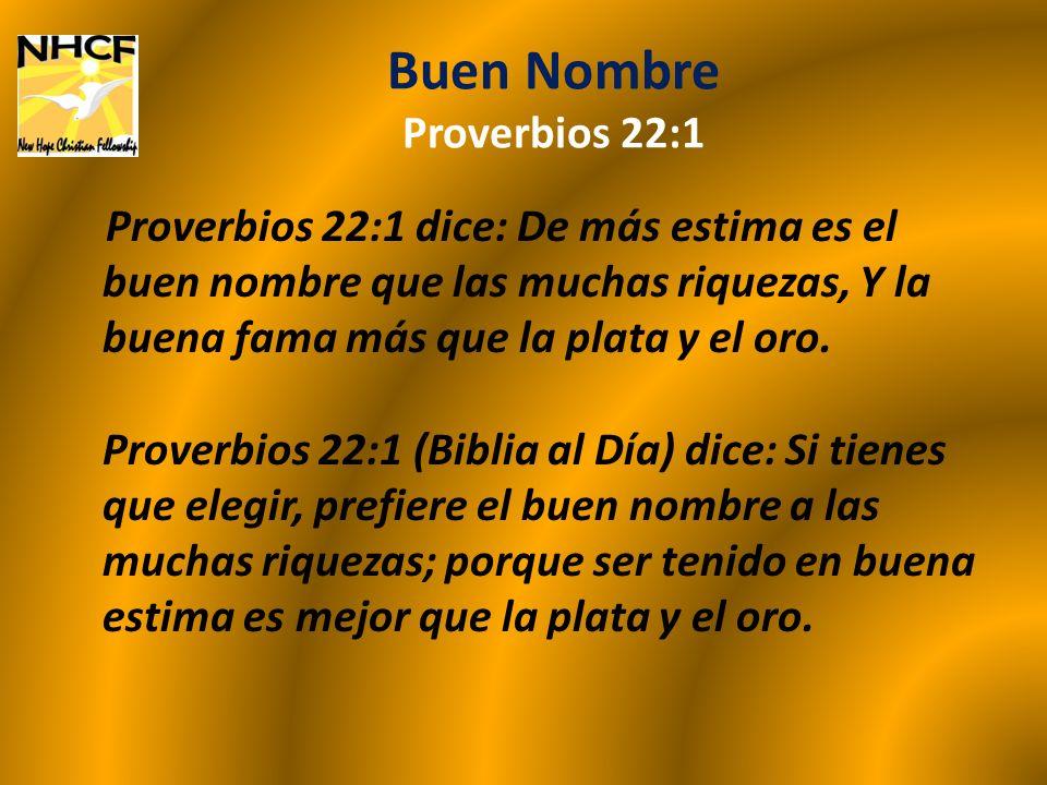 Buen Nombre Proverbios 22:1