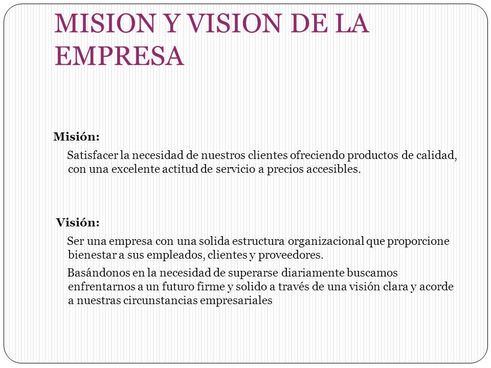 MISION Y VISION DE LA EMPRESA