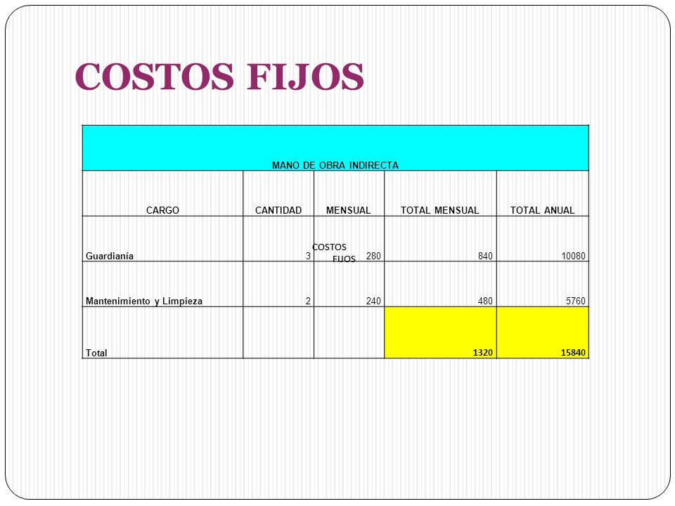 COSTOS FIJOS 1320 15840 COSTOS FIJOS COSTOS FIJOS