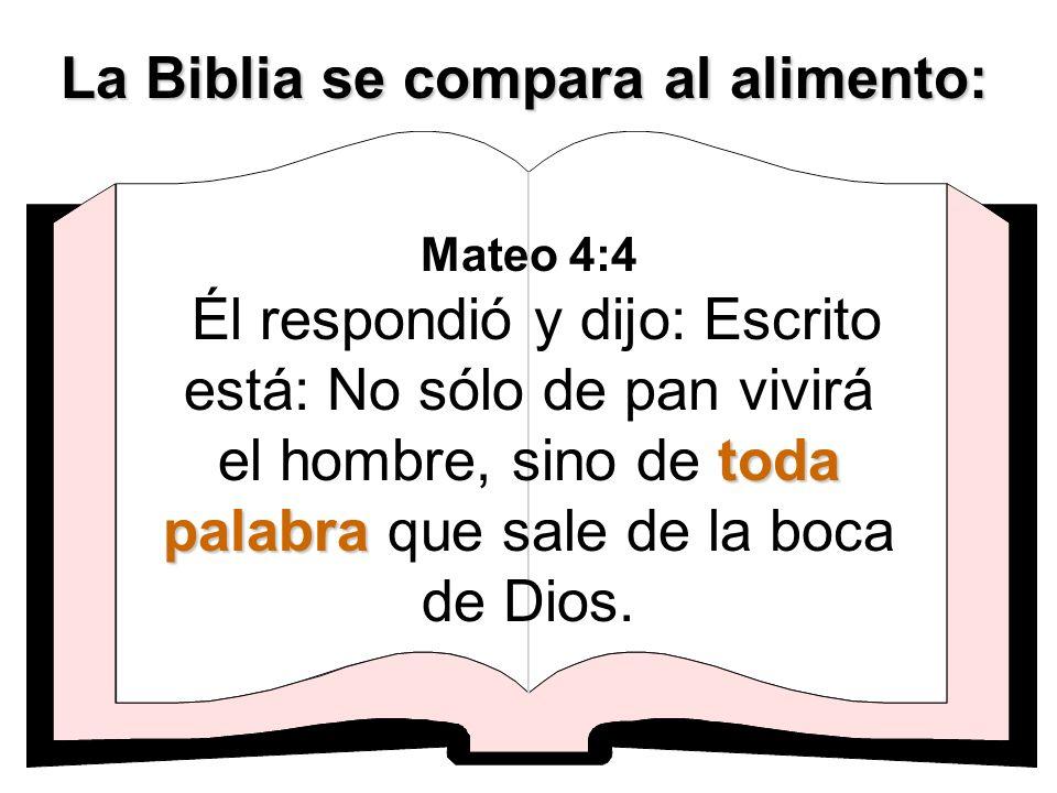 La Biblia se compara al alimento: