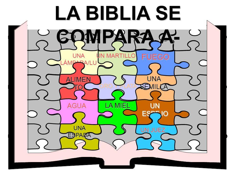 LA BIBLIA SE COMPARA A- FUEGO ALIMENTO UNA SEMILLA UN ESPEJO AGUA