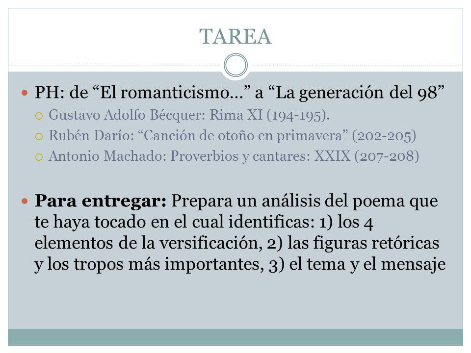 TAREA PH: de El romanticismo… a La generación del 98