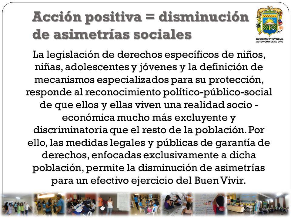 Acción positiva = disminución de asimetrías sociales