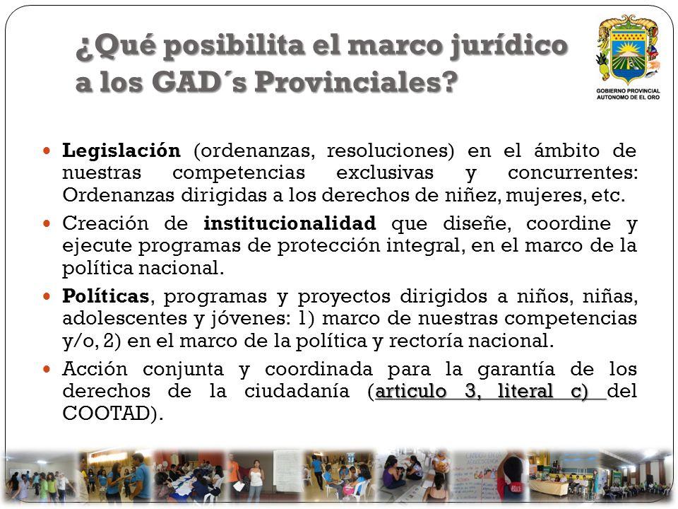 ¿Qué posibilita el marco jurídico a los GAD´s Provinciales