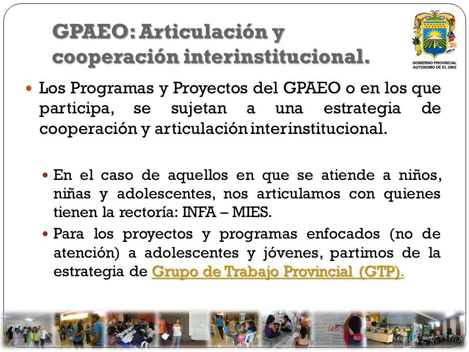GPAEO: Articulación y cooperación interinstitucional.