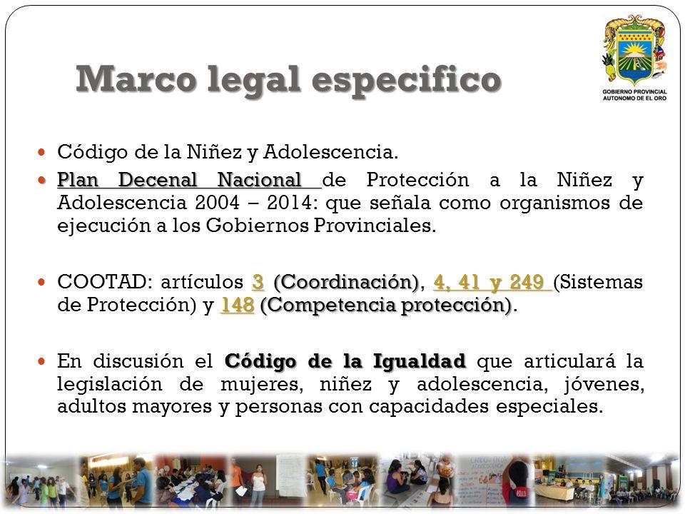 Marco legal especifico