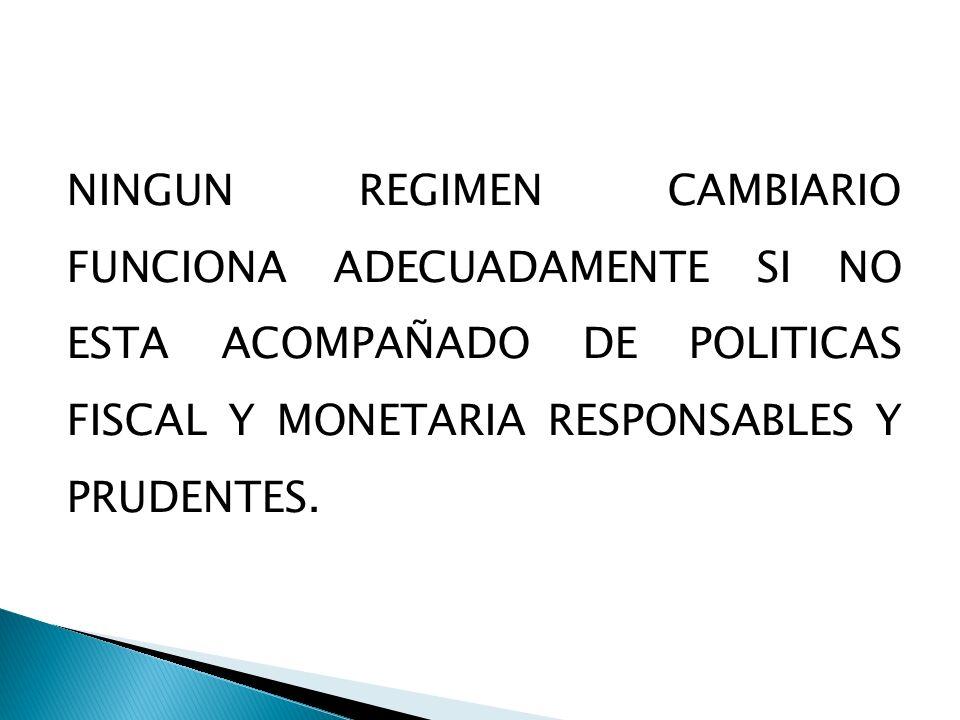 NINGUN REGIMEN CAMBIARIO FUNCIONA ADECUADAMENTE SI NO ESTA ACOMPAÑADO DE POLITICAS FISCAL Y MONETARIA RESPONSABLES Y PRUDENTES.