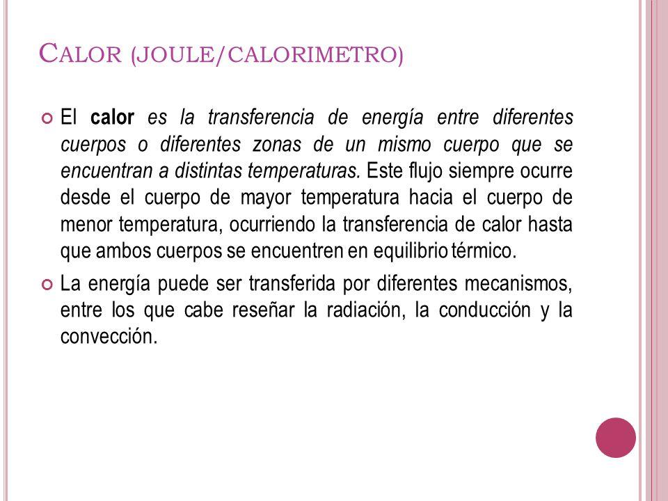 Calor (JOULE/CALORIMETRO)