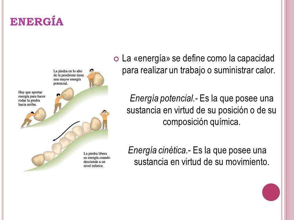 ENERGÍA La «energía» se define como la capacidad para realizar un trabajo o suministrar calor.
