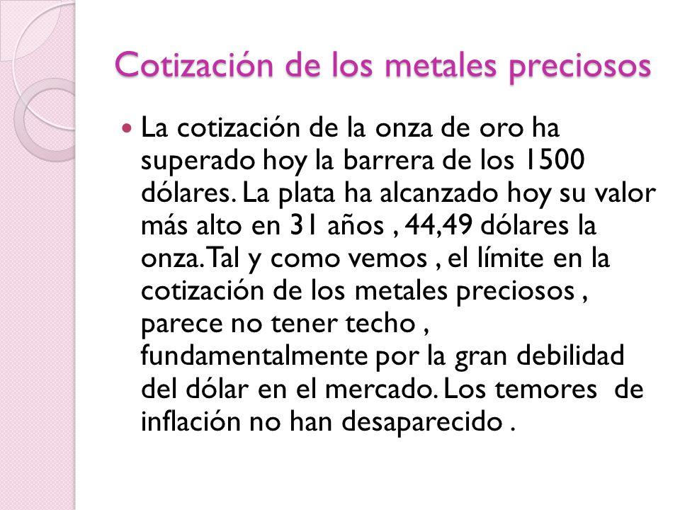 Cotización de los metales preciosos