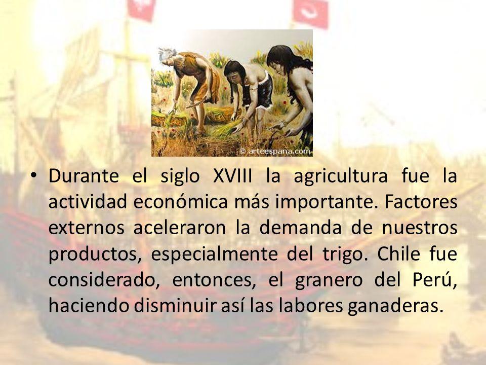Durante el siglo XVIII la agricultura fue la actividad económica más importante.