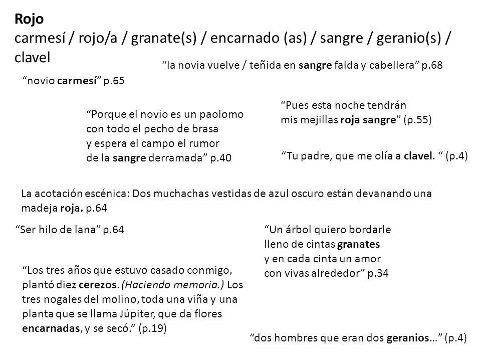 Rojo carmesí / rojo/a / granate(s) / encarnado (as) / sangre / geranio(s) / clavel