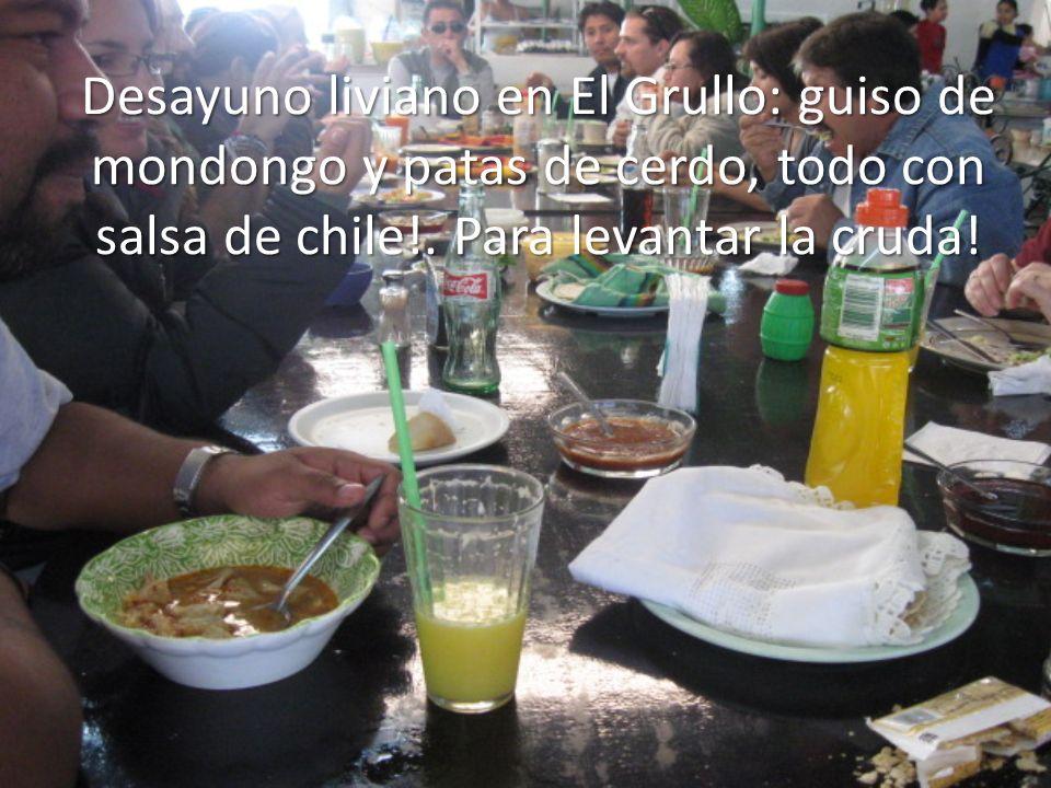 Desayuno liviano en El Grullo: guiso de mondongo y patas de cerdo, todo con salsa de chile!.