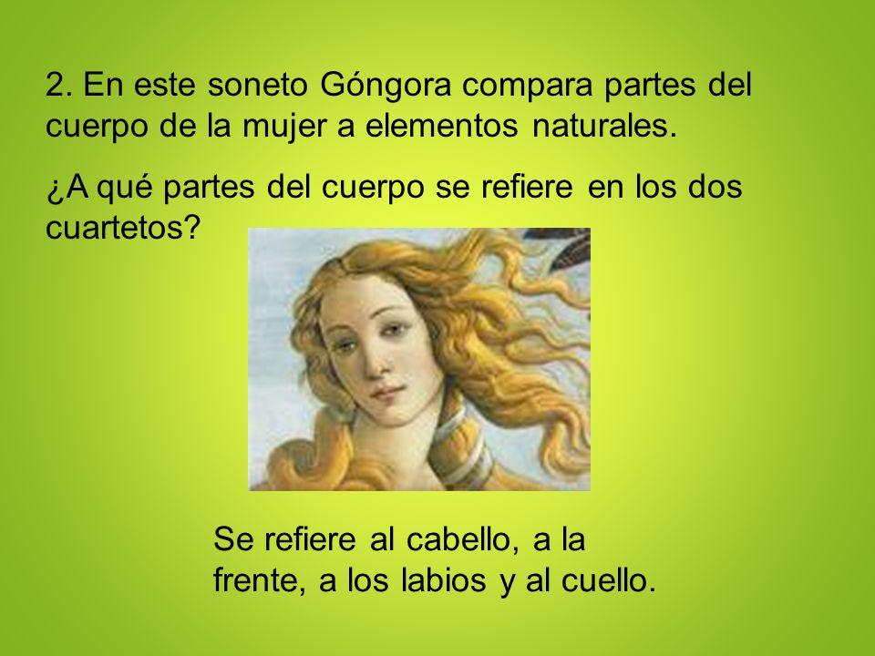 2. En este soneto Góngora compara partes del cuerpo de la mujer a elementos naturales.
