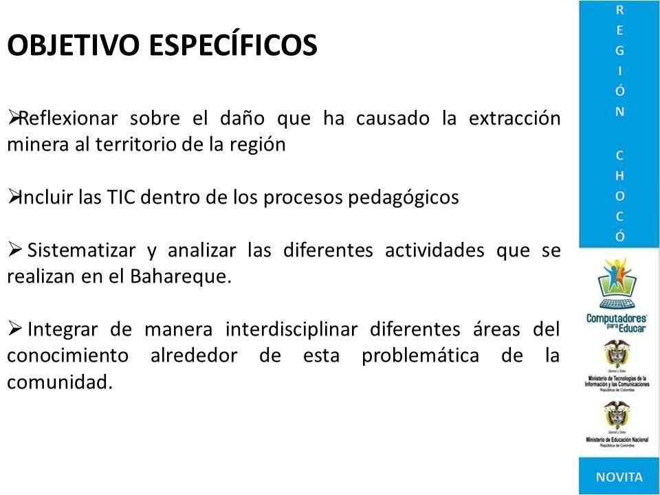 OBJETIVO ESPECÍFICOS Reflexionar sobre el daño que ha causado la extracción minera al territorio de la región.