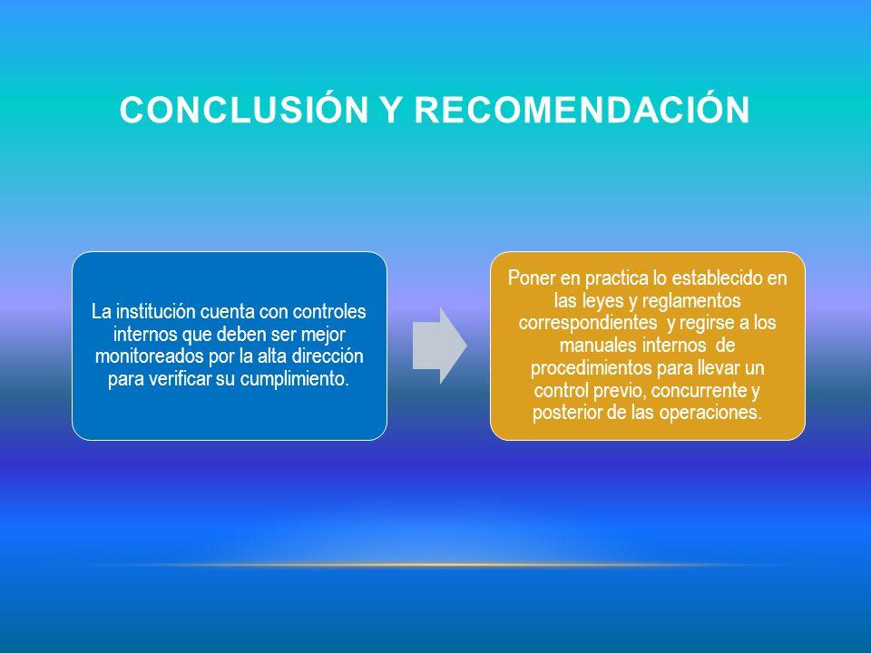 Conclusión y recomendación