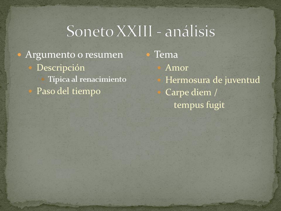 Soneto XXIII - análisis