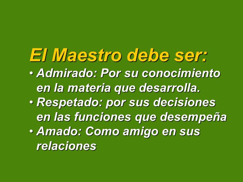 El Maestro debe ser: Admirado: Por su conocimiento en la materia que desarrolla. Respetado: por sus decisiones en las funciones que desempeña.
