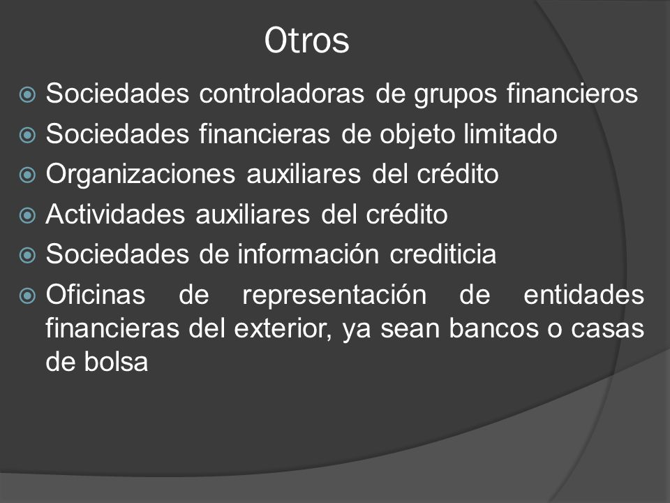 Otros Sociedades controladoras de grupos financieros
