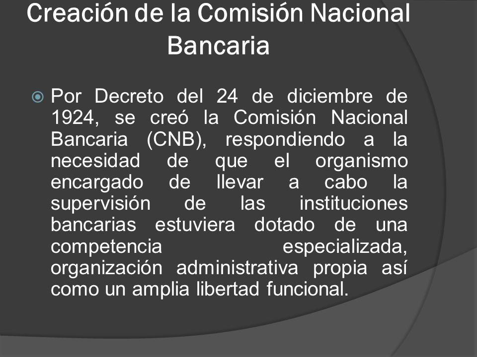 Creación de la Comisión Nacional Bancaria