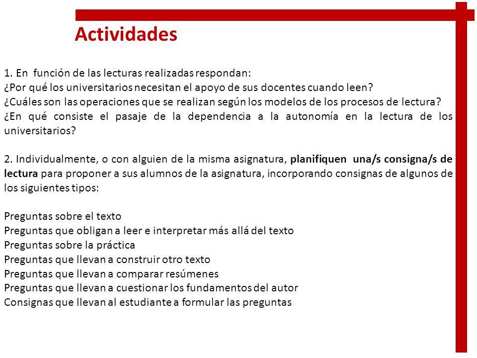 Actividades 1. En función de las lecturas realizadas respondan: