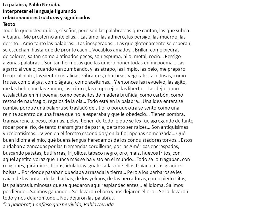 La palabra, Pablo Neruda