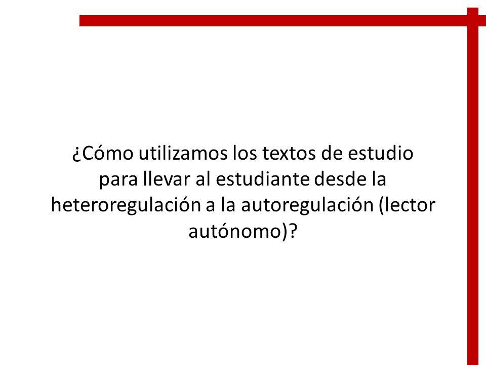 ¿Cómo utilizamos los textos de estudio para llevar al estudiante desde la heteroregulación a la autoregulación (lector autónomo)