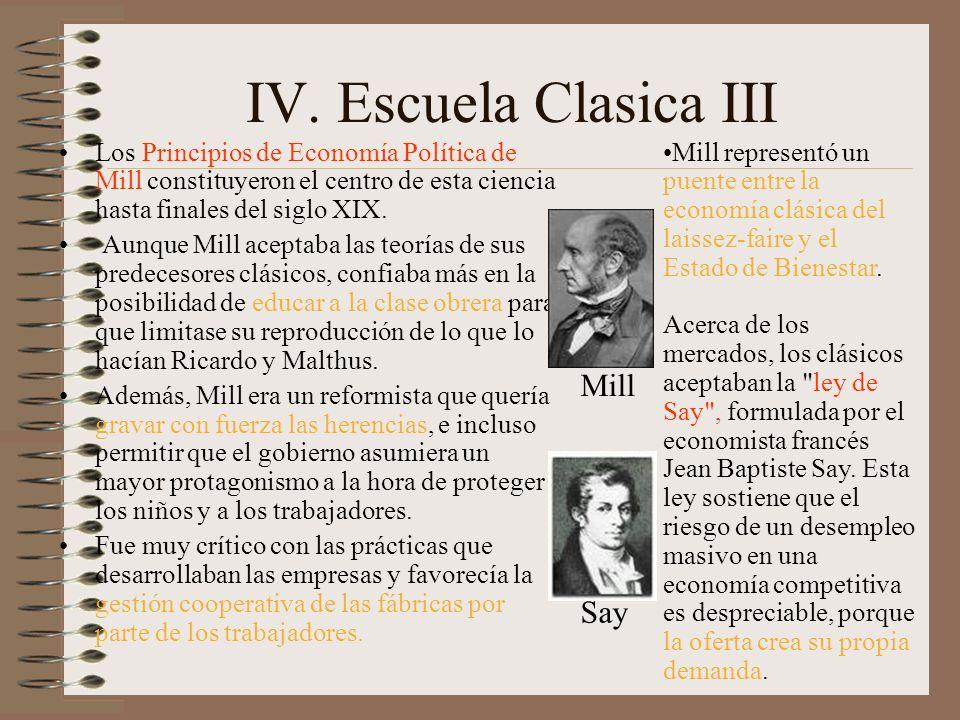 IV. Escuela Clasica III Mill Say