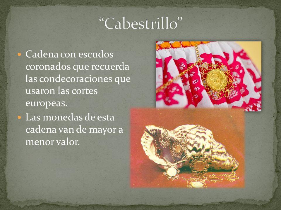 Cabestrillo Cadena con escudos coronados que recuerda las condecoraciones que usaron las cortes europeas.
