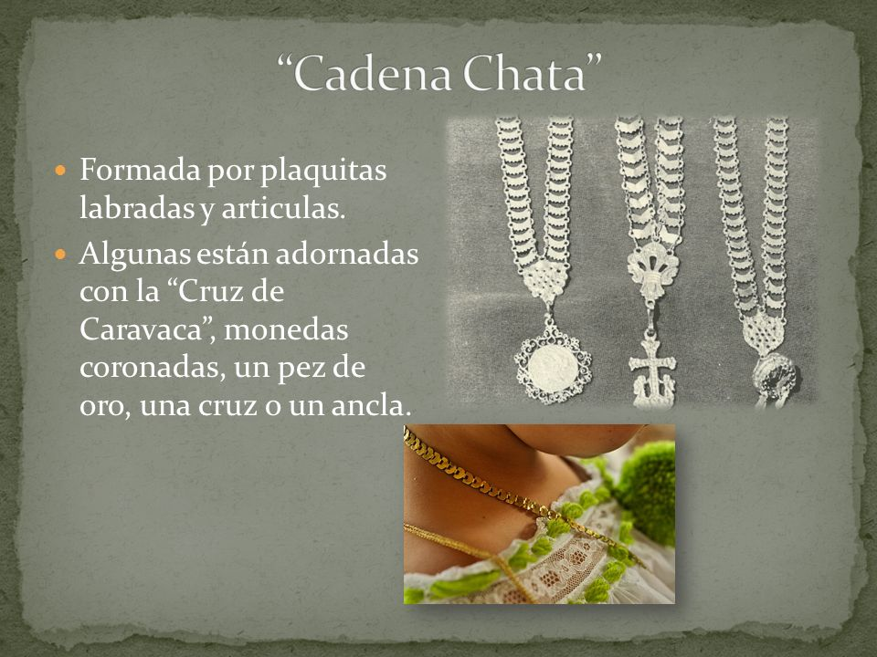 Cadena Chata Formada por plaquitas labradas y articulas.