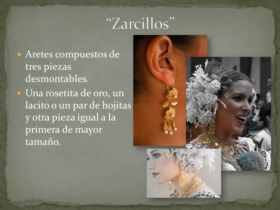 Zarcillos Aretes compuestos de tres piezas desmontables.