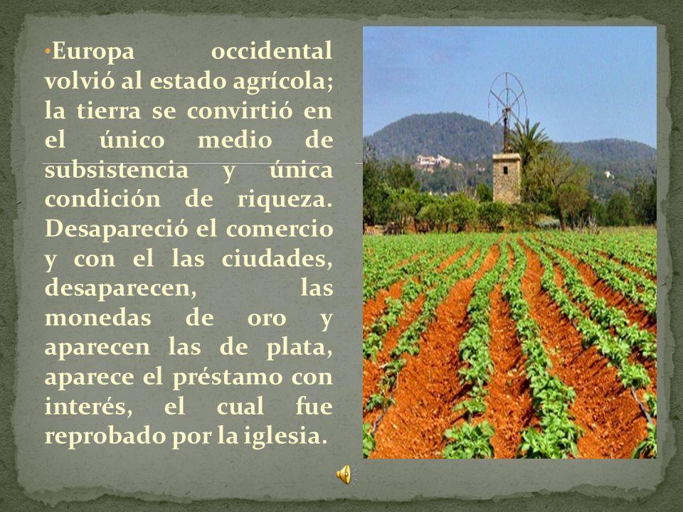 Europa occidental volvió al estado agrícola; la tierra se convirtió en el único medio de subsistencia y única condición de riqueza.