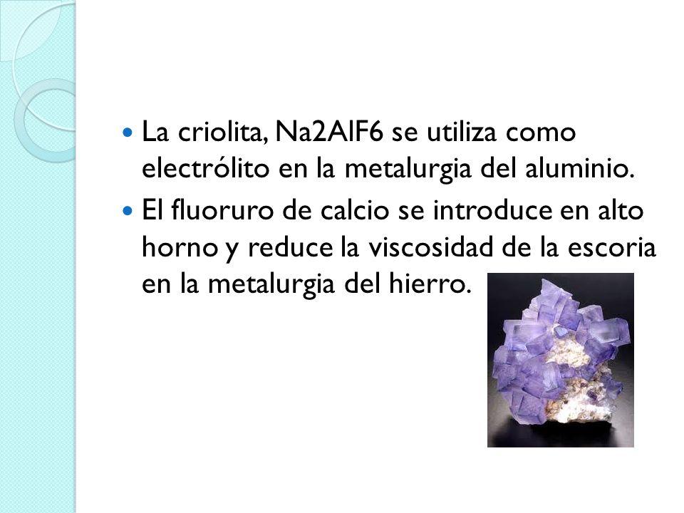 La criolita, Na2AlF6 se utiliza como electrólito en la metalurgia del aluminio.