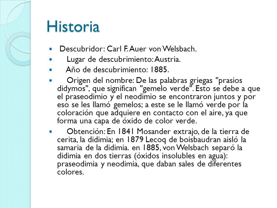 Historia Descubridor: Carl F. Auer von Welsbach.