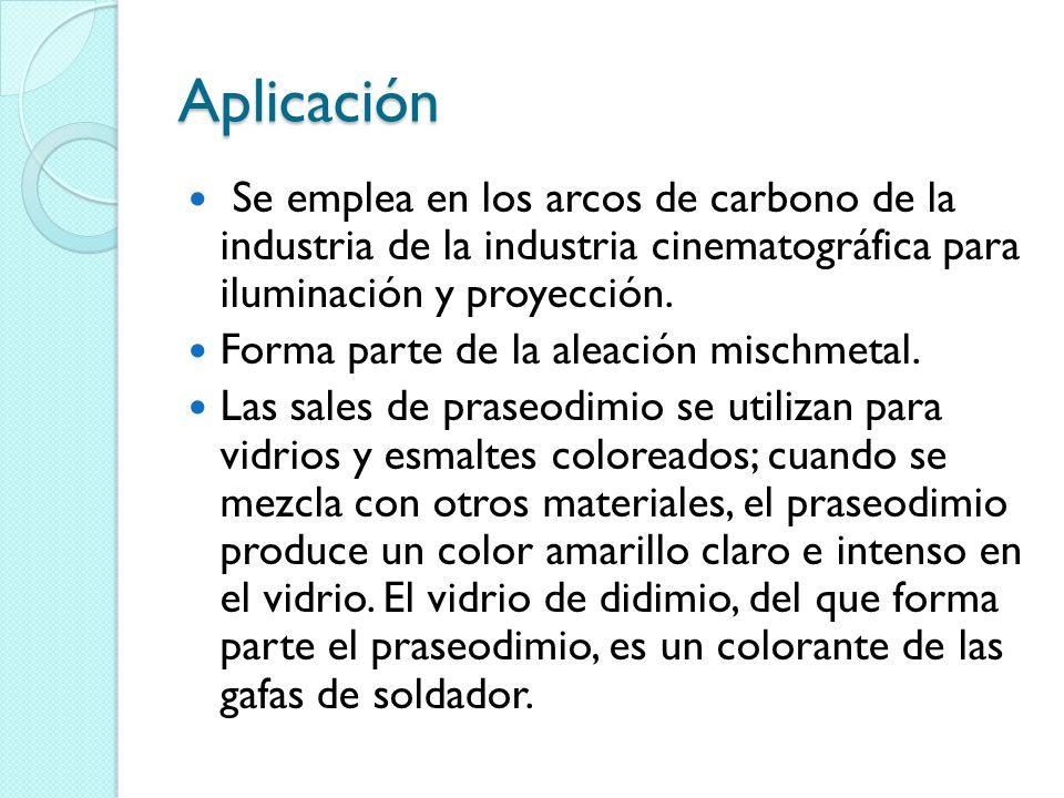 Aplicación Se emplea en los arcos de carbono de la industria de la industria cinematográfica para iluminación y proyección.
