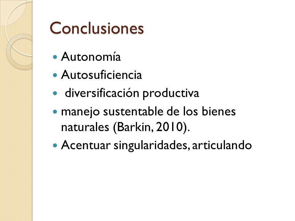 Conclusiones Autonomía Autosuficiencia diversificación productiva
