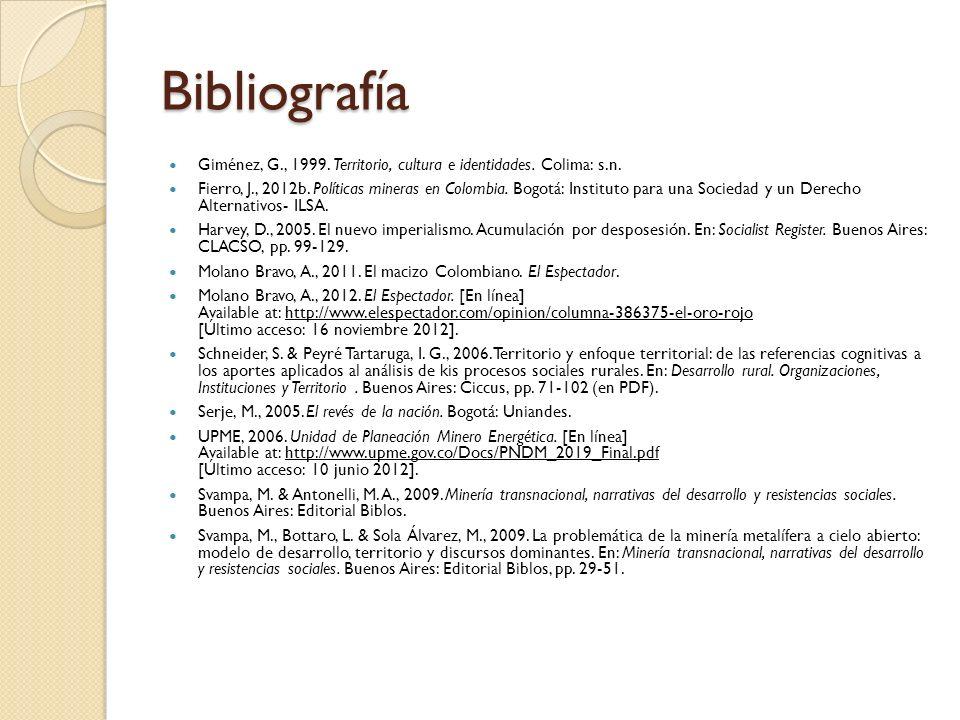 Bibliografía Giménez, G., 1999. Territorio, cultura e identidades. Colima: s.n.