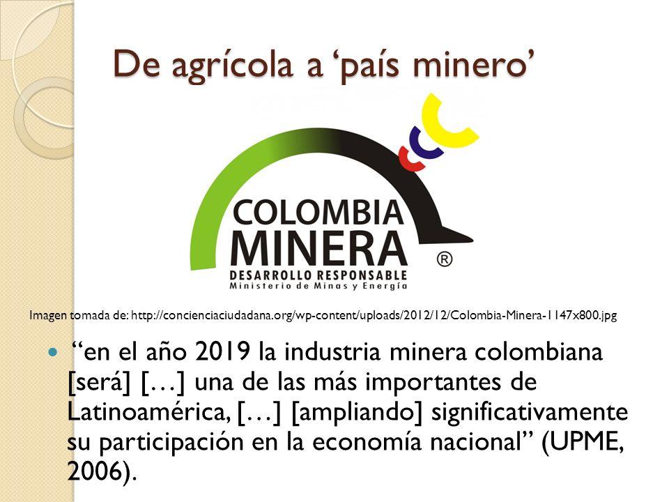 De agrícola a 'país minero'