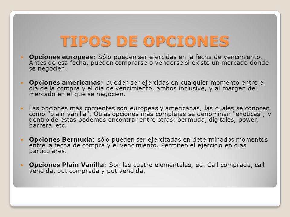 TIPOS DE OPCIONES
