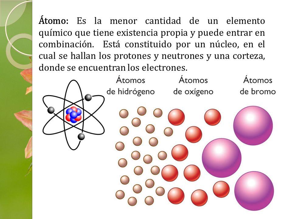 Átomo: Es la menor cantidad de un elemento químico que tiene existencia propia y puede entrar en combinación. Está constituido por un núcleo, en el cual se hallan los protones y neutrones y una corteza, donde se encuentran los electrones.
