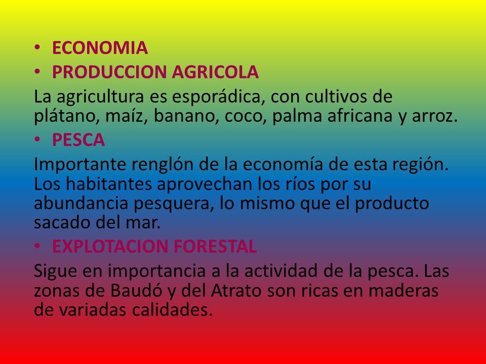 ECONOMIA PRODUCCION AGRICOLA. La agricultura es esporádica, con cultivos de plátano, maíz, banano, coco, palma africana y arroz.