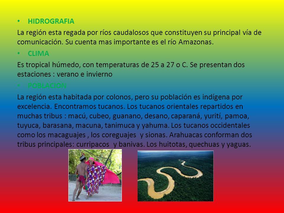 HIDROGRAFIA La región esta regada por ríos caudalosos que constituyen su principal vía de comunicación. Su cuenta mas importante es el río Amazonas.