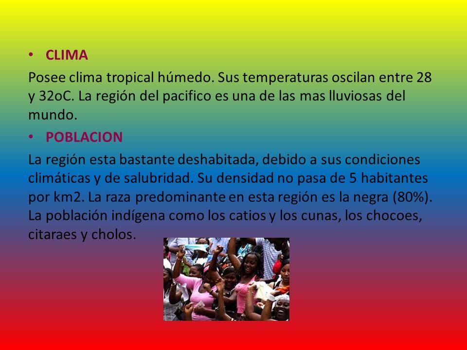 CLIMA Posee clima tropical húmedo. Sus temperaturas oscilan entre 28 y 32oC. La región del pacifico es una de las mas lluviosas del mundo.