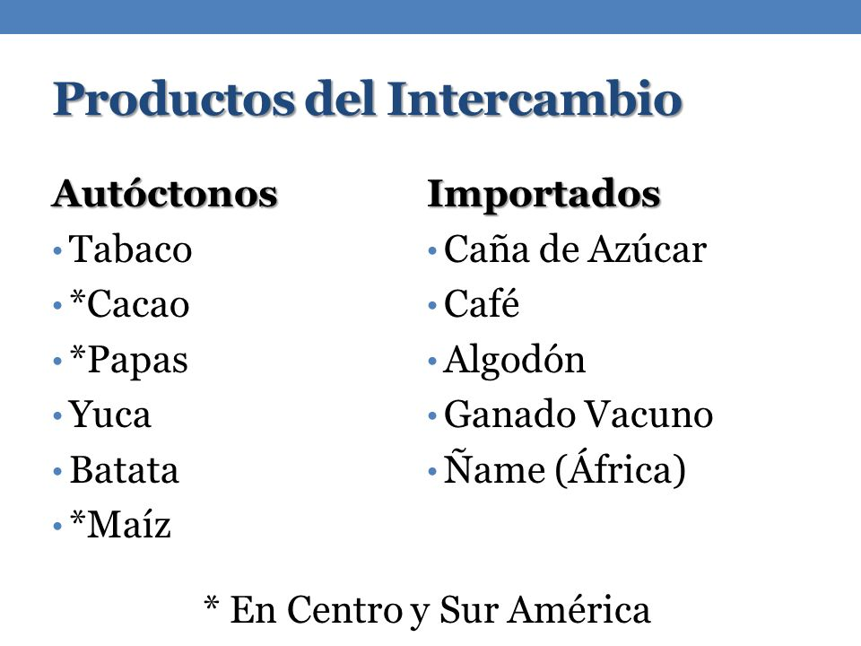 Productos del Intercambio