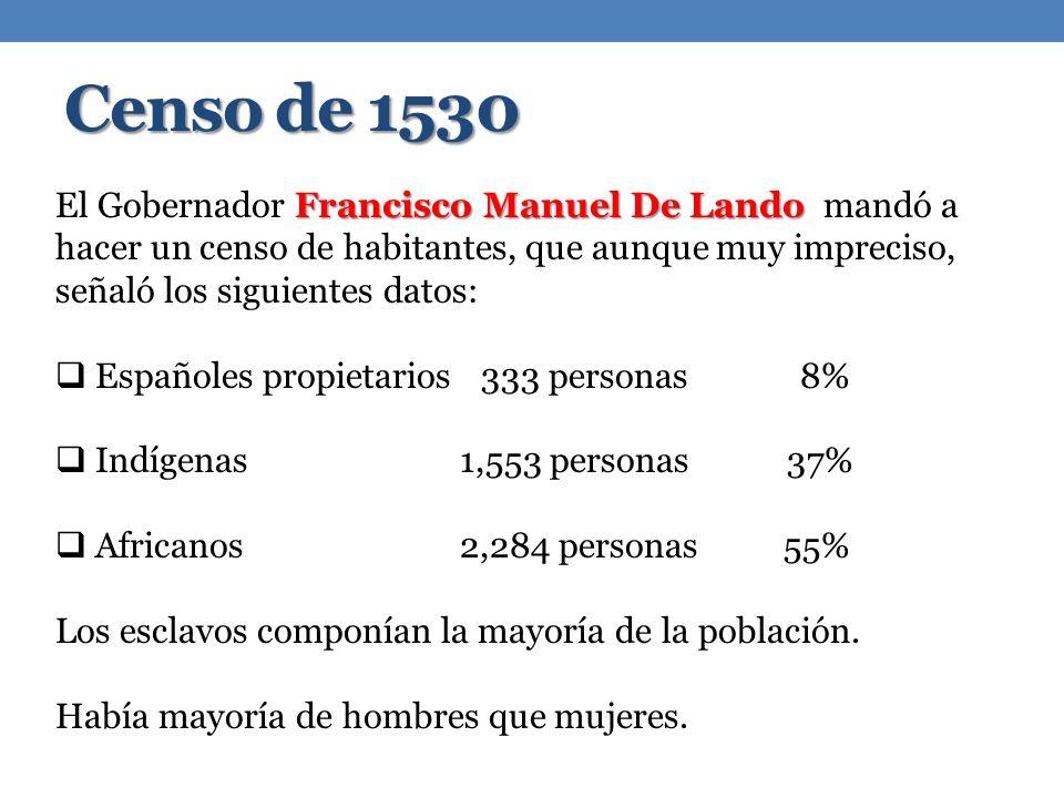 Censo de 1530 El Gobernador Francisco Manuel De Lando mandó a hacer un censo de habitantes, que aunque muy impreciso, señaló los siguientes datos: