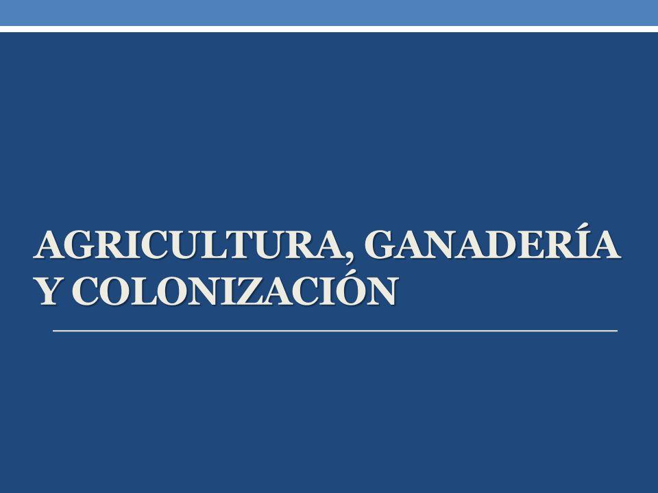 Agricultura, Ganadería y colonización