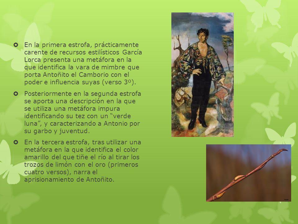 En la primera estrofa, prácticamente carente de recursos estilísticos García Lorca presenta una metáfora en la que identifica la vara de mimbre que porta Antoñito el Camborio con el poder e influencia suyas (verso 3º).