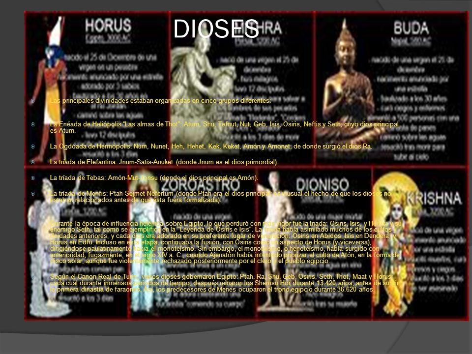 DIOSES Las principales divinidades estaban organizadas en cinco grupos diferentes: