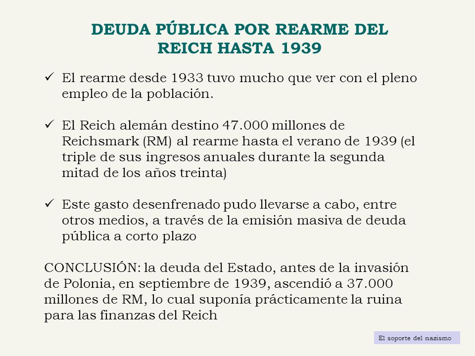 DEUDA PÚBLICA POR REARME DEL REICH HASTA 1939